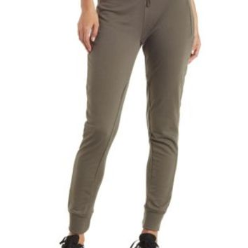 Green Ribbed Panel Active Capri Pants by Charlotte Russe