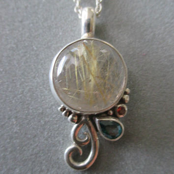 One of a Kind Sterling Silver Rutilated Quartz Pendant