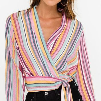 Ready And Willing Pink Multicolor Stripe Long Lantern Sleeve Cross Wrap V Neck Tie Waist Blouse Top