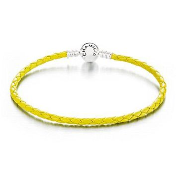 Authentic Chamilia Large Braided Green Leather Bracelet w Round Snap Closure 79 in or 20 cm 10300132