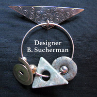 Designer Jewelry, Rare Barbara Sucherman Modernist Jewelry, Brooch Abstract Jewelry, Pin Sterling Silver