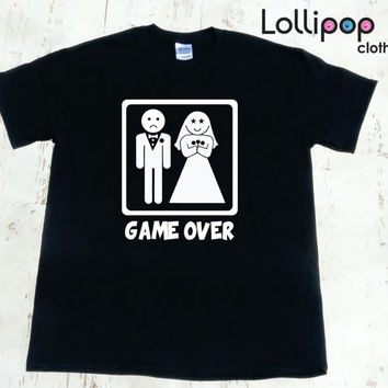 Game Over Men's Tshirt. Funny wedding day gift. Honeymoon Tee. Husband and Wife T Shirt. bachelor party shirt for men. Tuxedo shirt