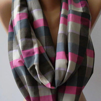 Unisex -Tube Scarf, Infinity Scarf Loop Scarf - It made with good quality COTTON fabric Plaid Circle Scarf Fall Fashion