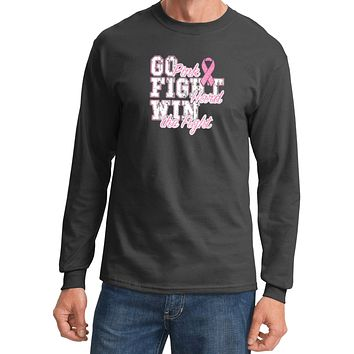 Breast Cancer T-shirt Go Fight Win Long Sleeve