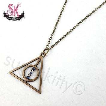 Deathly Hallows Symbol Necklace with House Colors