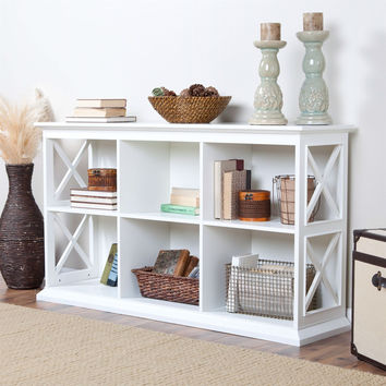 White Solid Wood Sofa Table with 2 Shelves