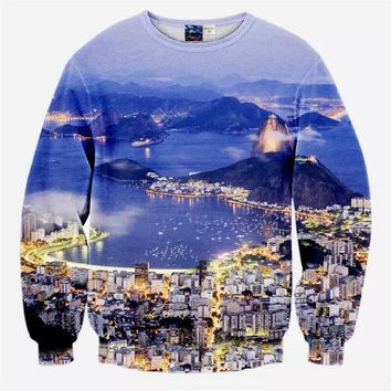 City Scenery Crew Neck Sweatshirt Men & Women Mountains Harajuku Style All Over Print Blue Sweater
