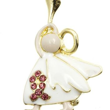 White Resounding Angel Breast Cancer Awareness Pin And Brooch
