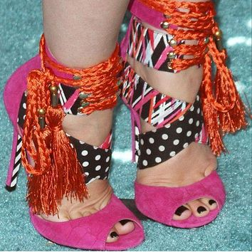 Party Multicolor Dot High Heel Lace Up Sandals