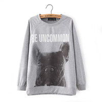 Gray Dog Letter Print Sweater