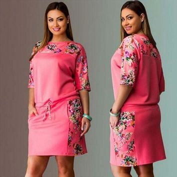 Summer Plus Size Women's Fashion Half Sleeve Print Hoodies Dress One Piece Dress [4919713412]