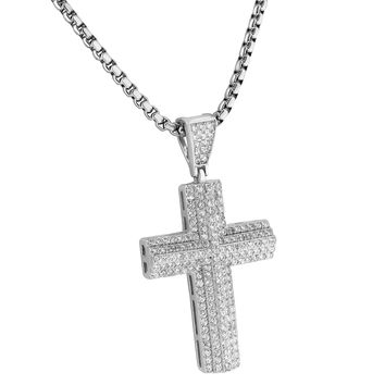 Custom Cross Pendant 14k White Gold Finish Lab Diamonds Iced Out 925 Silver Chain