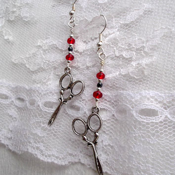 Red Hematite Silver Scissors Earrings Beaded Dangle