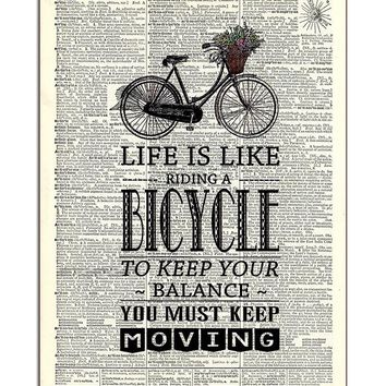 Life is Like Riding a Bicycle Dictionary Art