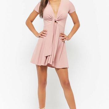 Plunging Tie-Front Dress