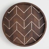 Round Wood and Copper Inlay Tray