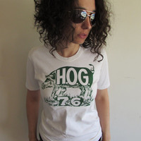 Vintage Pig Hog 70s White and Green T shirt
