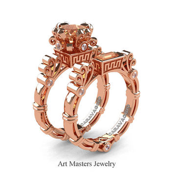 Art Masters Caravaggio 14K Rose Gold 1.5 Ct Princess Champagne Diamond White Diamond Engagement Ring Wedding Band Set R627S-14KRGDCHD