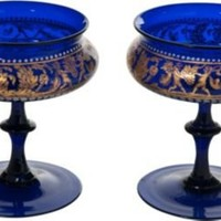 One Kings Lane - Antique & Art Exchange - 19th-C. Blue Champagne Glasses, Pair