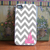 White and Grey Chevron with pink castle  iPhone 4S by DanazDesigns