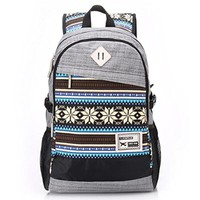Vere Gloria Men Women Casual Travel Backpacks Striped Tribal Vintage Ethnic Aztec Hiking Daypacks College Satchel High Middle School Students Rucksacks Large Capacity Double Shoulder Strap Laptop Bags (8-Blue)
