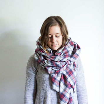 Plaid Blanket Scarf Fringe Flannel Wrap | ROAD TRIP