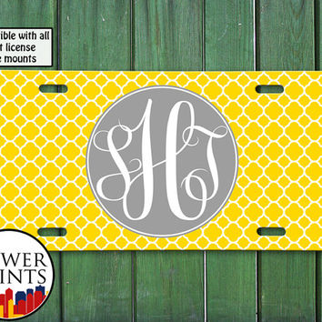 Yellow Gray Cursive Monogram Initials Clover Pattern Cute Personalized For Front License Plate Car Tag One Size Fits All Vehicle Custom
