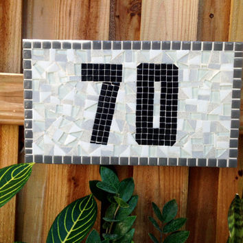 Outdoor Address Sign, Gray Black White Address Plaque,  Mosaic House Numbers