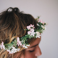 Natural Flower Crown with Small Flowers and Greenery