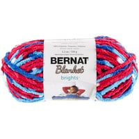 Bernat Blanket Brights Yarn-Red, White & Boom Variegated