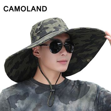 Safari hat 16 cm Large Wide Brim Hats Men's Fishing Cap Bucket Hat Summer breathable Outdoors Tactical caps UV Protection Boonie