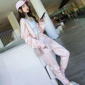 Spring Two piece Set Women Long Sleeve Pink Cardigan Jacket + Pants Baseball Leisure Suits