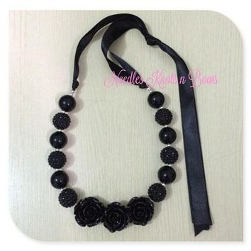 All Black 3 Rose Chunky Bead Bubblegum Necklace, Women or Girls Jewelry, Ribbon Closure, Adjustable Length