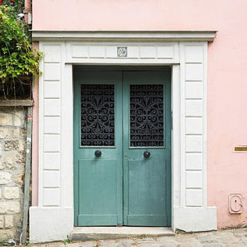 Paris Wall Decor - Parisian Door Photography Print - Pink House in Montmartre - French Gallery Wall Art Print