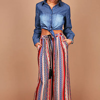 Lounge Pattern Wide Pants | Trendy Clothes at Pink Ice