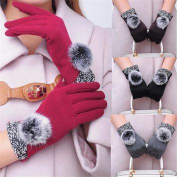 2017 Fashion Women Cotton Winter Warm Gloves Mittens Y90630
