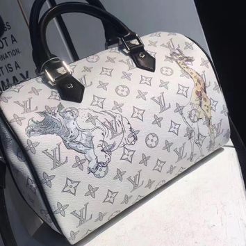 Louis Vuitton Woman Men Animal Leather Shoulder Bag Satchel Tote Travel Bag Handbag