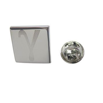 Silver Toned Etched Greek Letter Gamma Lapel Pin