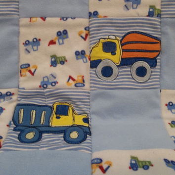 Boys Truck Mini Quilt, Construction Theme Baby Quilt, Quilted Lovey Blanket, Quilted Security Blanket, Upcycled Baby Clothes