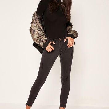 Missguided - Black Anarchy Stepped Hem Skinny Jeans