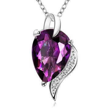 Large Purple Citrine Gem Curved Necklace made with Swarovski Elements