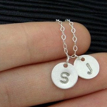 two stamped letter disc necklace monogram initial necklace gold silver copper plated necklace bridesmaids brides party gift for best friend