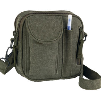 Vintage Canvas Organizer Bag - Olive Drab