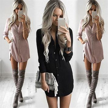 Women's Long Sleeve Blouse Shirt Button Down  Tops
