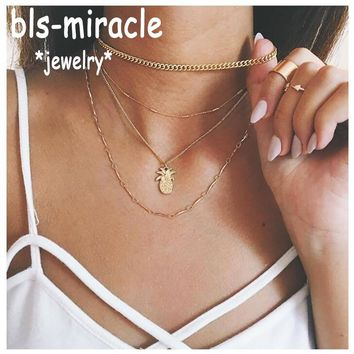 Bls-miracle Fashion Necklaces Classic Gold Color Multilayer Pineapple  Pendant Necklace Women Girl Statement Female JewelryN542