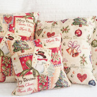 Special Christmas offer! Set of 3 Christmas pillow covers you choose,   weaved picture with golden thread, Cover in brocade thick cotton,