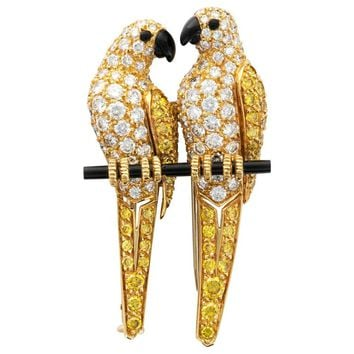 Cartier Yellow and White Diamond Onyx Lovebirds Brooch