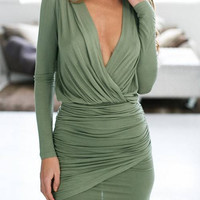 Plunge Neck Wrap Mini Dress