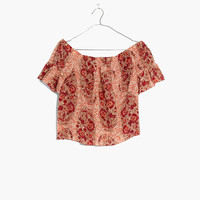 Silk Off-the-Shoulder Top in Watercolor Paisley : shopmadewell AllProducts | Madewell