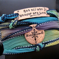 """SALE D2E silk wrap bracelet with hammered hand stamped """"Not All Who Wander Are Lost"""" copper bar & recycled penny w/Compass design"""